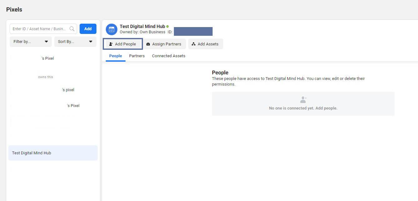 เพิ่มเพื่อนมาทำงานใน Facebook Pixel