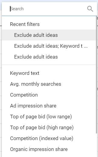 ฟีเจอร์ Filter ของ Keyword Planner