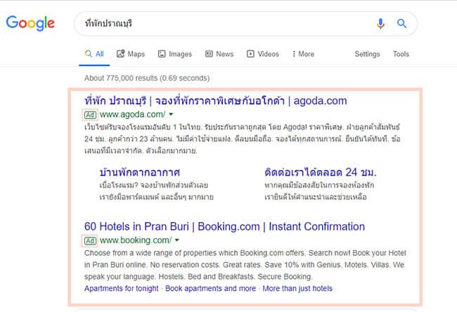 Google Ads(Google AdWords)คืออะไร? ตัวอย่างการแสดงผลโฆษณา Google Search Ads