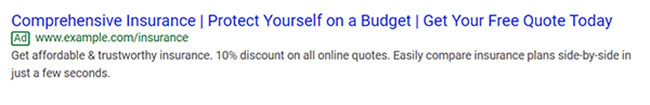 ตัวอย่างโฆษณา Google Search - Expanded Text ads
