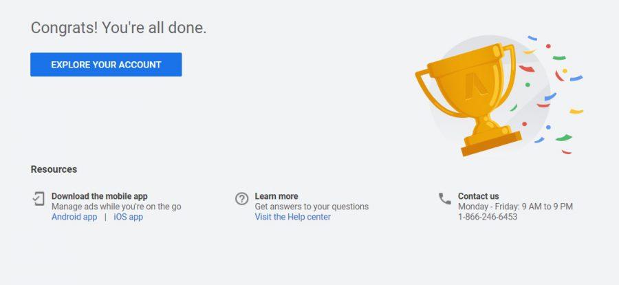 หน้าจอก่อนเข้าสู่ Interface ของ Google Ads