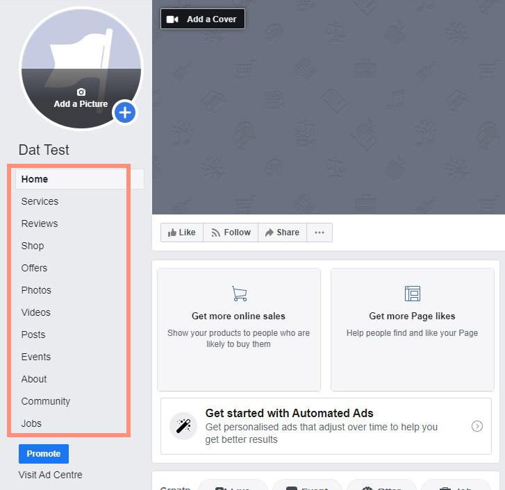 ตัวอย่างแถบ Facebook page tab ที่สามารถทำการแก้ไขปรับแต่งได้