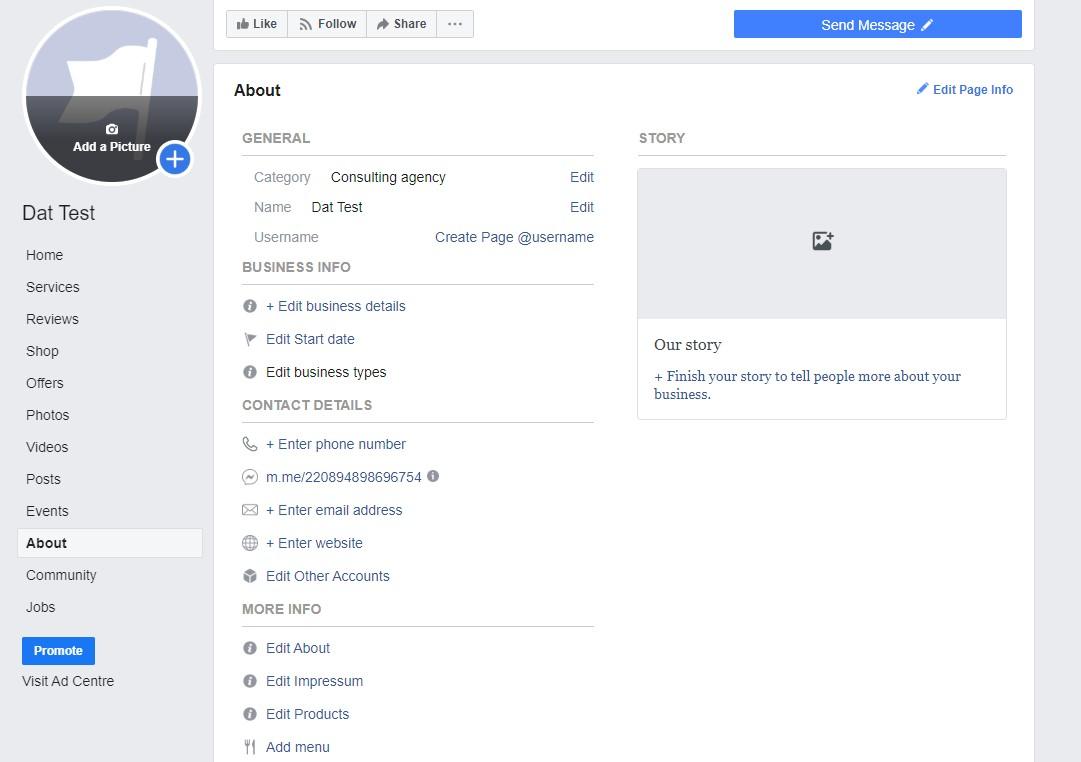 แถบ About ของ Facebook page
