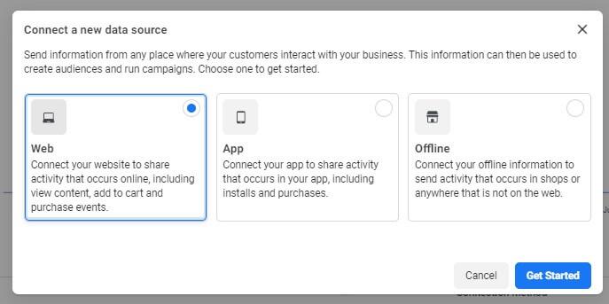 วิธีการติดตั้ง Facebook Pixel เลือก เว็บไซต์