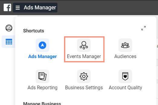 เมนู Ads Manager เพื่อเข้า Event Manager ไปติดตั้ง Facebook Pixel